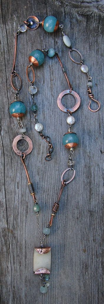 New necklace by Cynthia Murray Design with honey jade pendant, blue agate, aquamarine, pearls, recycled copper, sterling silver chain