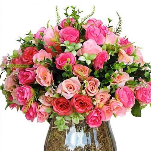 Arranjo de Flores Artificiais Rosas Mistas na Taca de-Vidro Grande 60x30 cm