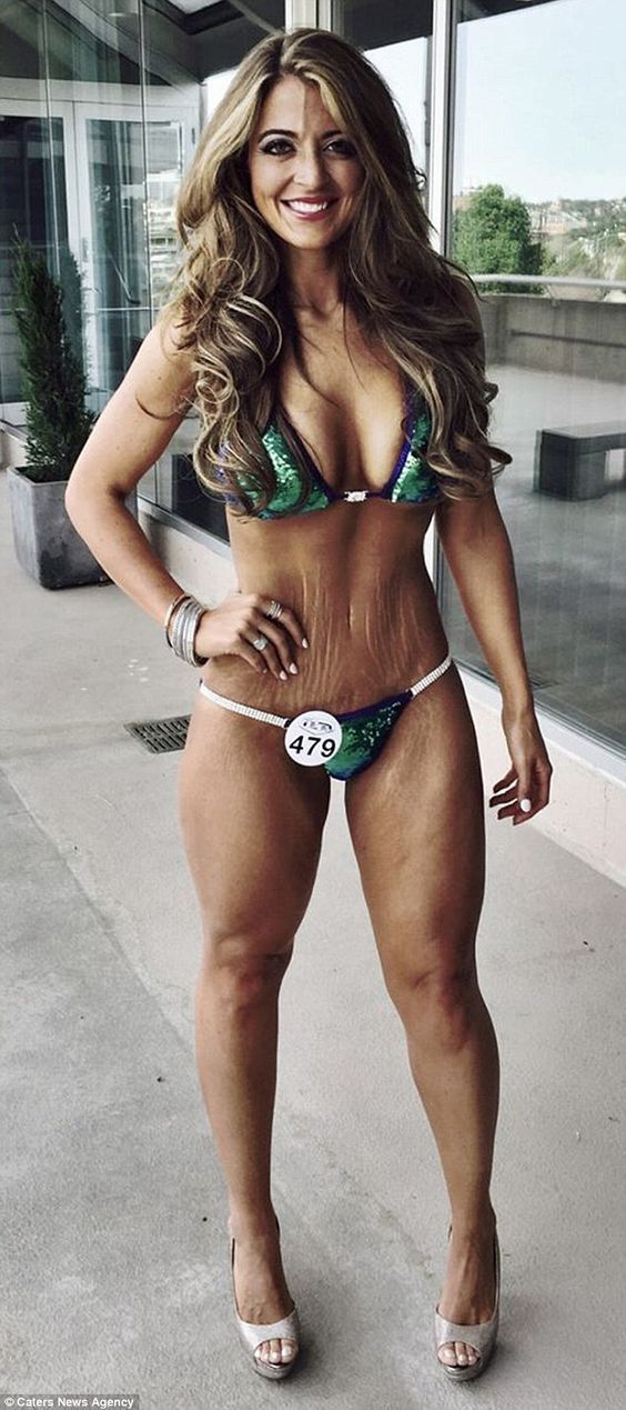 Conner, 26, from Nebraska, pictured before the 2015 bikini competition, said she gained weight due to having a very sweet tooth, and finally managed to shift the pounds with help from a nutritionist and a personal trainer