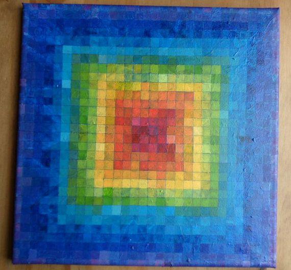 Original abstract acrylic painting multicoloured art rainbow