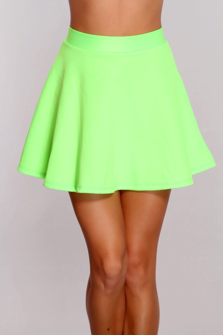 Neon Green Skater Skirt October 2017