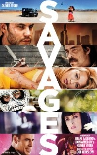 Pot growers Ben and Chon face off against the Mexican drug cartel who kidnapped their shared girlfriend in 'Savages', starring Blake Lively, Aaron Johnson, Taylor Kitsch, John Travolta, Salma Hayek, Emile Hirsch, and Benicio Del Toro.