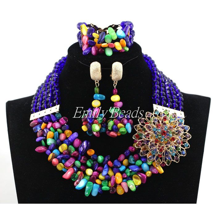 Colorful Crystal Mix Shell Beads Necklace Bracelet Earrings Set Nigerian Wedding African Costume Indian Bridal Jewerly ALJ636