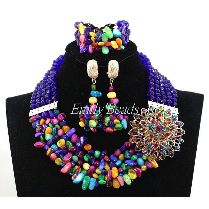 Красочный Crystal Mix Стеклянные Бусы Ожерелье Браслет Серьги Указан Нигерии Свадьба Африканский Костюм Индийские Свадебные Украшения ALJ636
