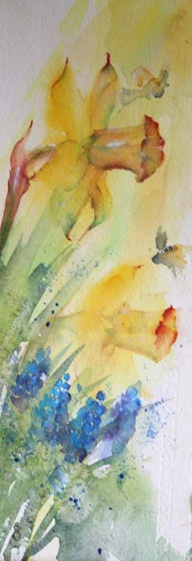 Daffodil and blue bells flower painting. Watercolours With Life: April 2016