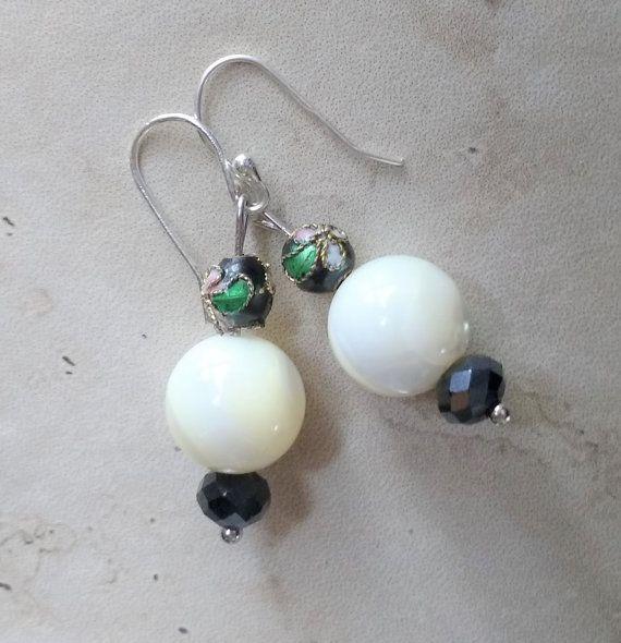 Mother of Pearl earrings  bridal earrings bridal by SumertaDesigns