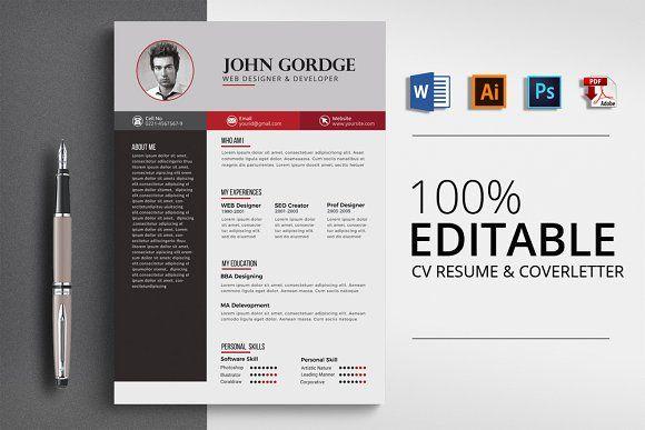 Cv Resume Cover Letter Template Resume Design Template Cv Words Cover Letter Template