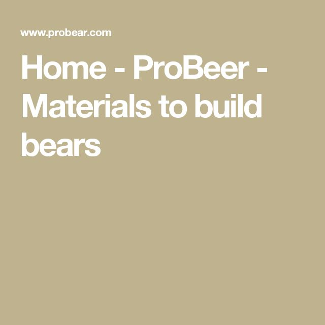 Home - ProBeer - Materials to build bears
