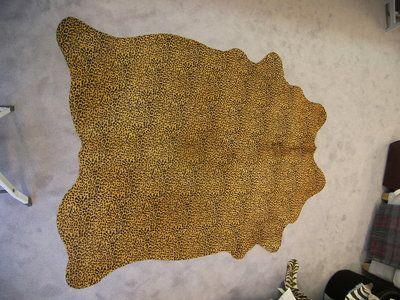 Koehuid print Luipaard tapijt, Stenciled hair on Hides rug leopard, cowhide