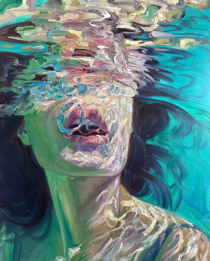 Arte Hippy, Arte Indie, Reflection Art, Underwater Painting, Art Hoe, Art Portfolio, Surreal Art, Portrait Art, Aesthetic Art