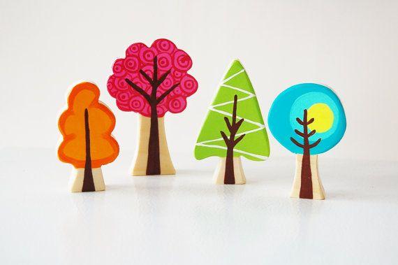 Enchanted Forest Woodland Tree Set Of 4 - Woodland Nursery Theme - Wooden Trees - Unique Christmas Gift- Hanukkah - Stocking Stuffer