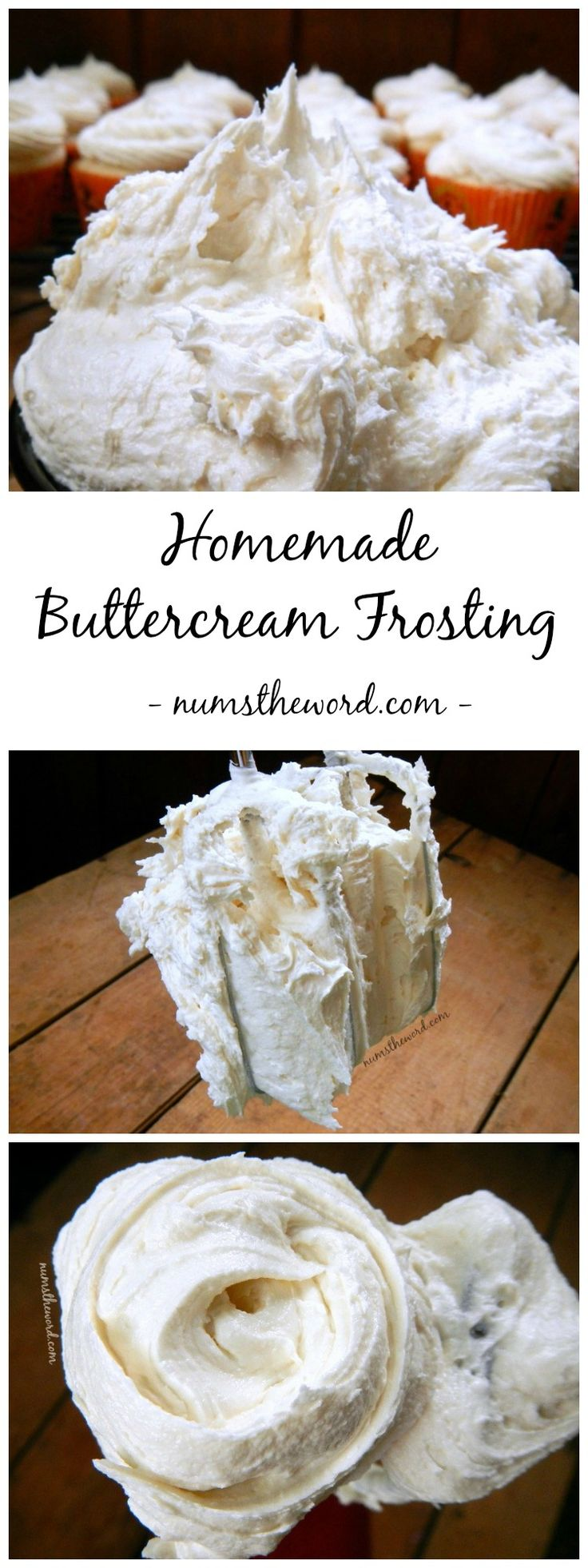 Homemade Buttercream Frosting - Looking for the perfect cake or cupcake frosting? Try this 5 minute homemade buttercream frosting. It's perfect with any flavor cake and the best I've had!