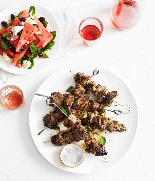 Smashed garlic and oregano lamb with watermelon salad :: Gourmet Traveller
