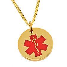 notfallausweis Anhänger & Italienisches Vergoldete Halskette & KOSTENLOSE GRAVUR