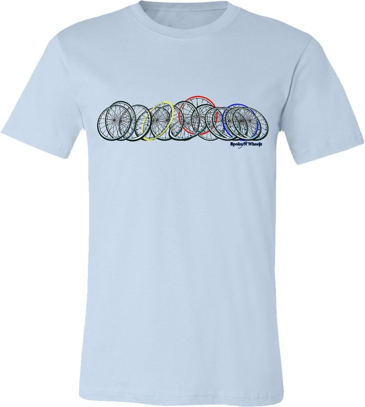 Bicycle T-Shirt Horizontal Bicycle Spokes and Wheels Road Bike T-shirt in Light Blue. $22.95, via Etsy.