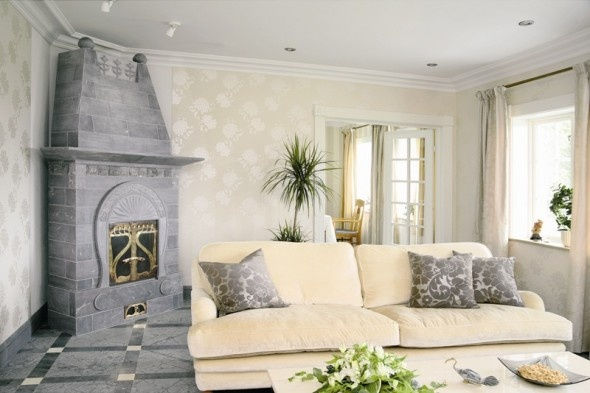 Beautiful Warmth Living Room Design with Soft Sofa and Throw Cushion