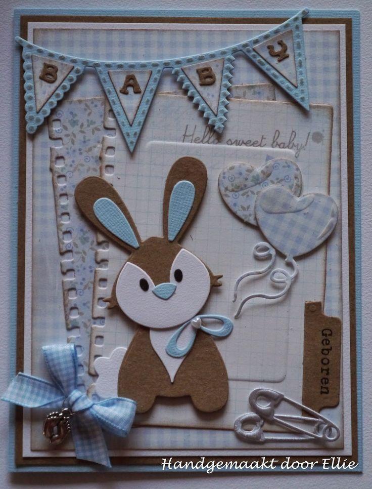 Dag allemaal,      Dit keer laat ik weer een babykaartje zienmethet schattige konijntje van Eline en nu in eenjongetjes variant...