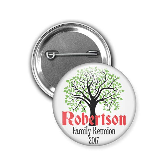 Custom Family Reunion Button / Pins  Size: 1.5 Inch Round Material: Metal Closure: Pinback Ships in: 1-3 Business Days via USPS First Class Custom family reunion pins that can be personalized with information about your family reunion! These pins are great for family reunion favors or save the dates. In the note to seller at checkout, just tell me the family name and date you would like on your pin. If you would like to request a proof or have color/font changes, you can leave it i...