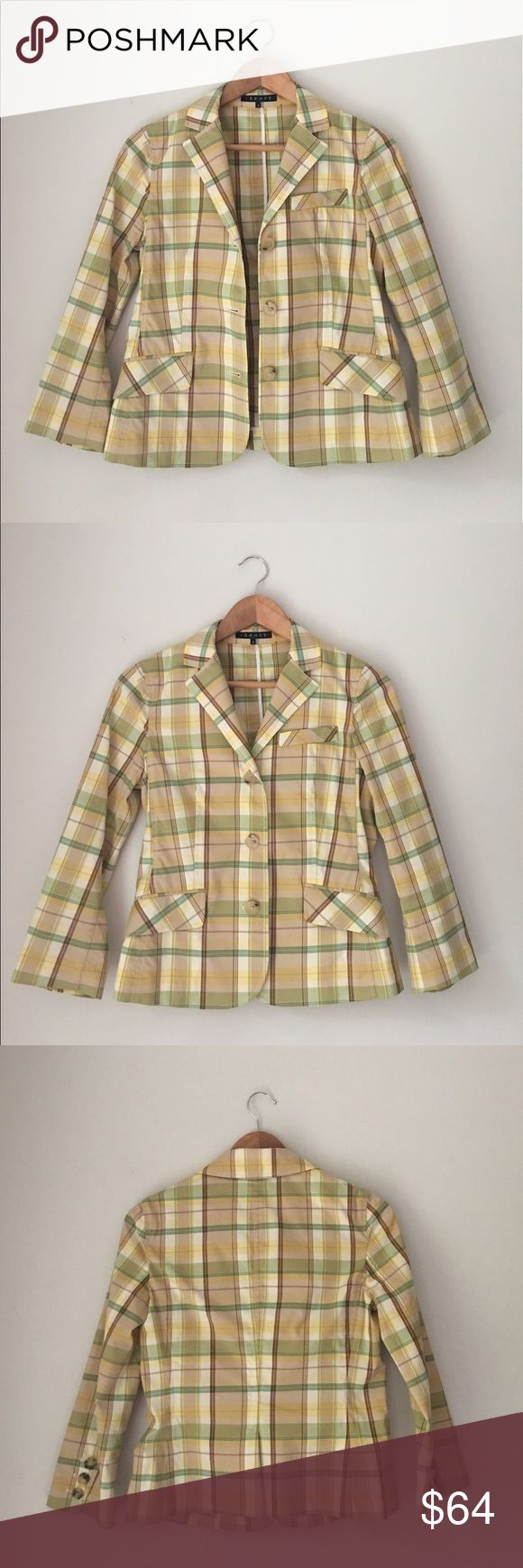 Theory Yellow Plaid Cotton Blazer Gorgeous Yellow/green plaid cotton blazer. 3 button front closure. Size 6. EUC. Theory Jackets & Coats Blazers