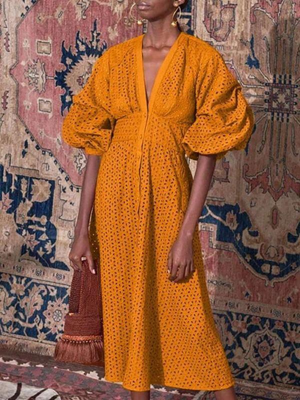 V-neck single-breasted lantern sleeves openwork embroidered midi dress