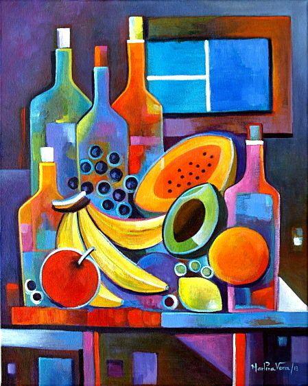 Cubista pintura abstracta Arte Original acrílico vino y frutas por venta modernos bodegones de Marlina Vera Fine Art Gallery
