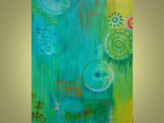 Turquoise and green art