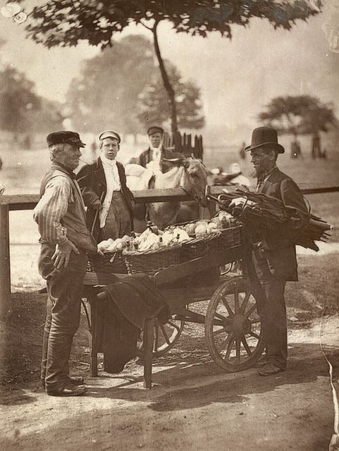 """""""Mush-Fakers"""" and Ginger-Beer Makers From 'Street Life in London', 1877. an arranged foto only, but the items are interesting"""