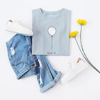 Dream up. Shop link in bio. (SKU: RTSH170301003 US$7.99 ) #romwe #pale #blue #ballon #print #tshirt #lovefashion #modern #cute #ootd #fashionfun