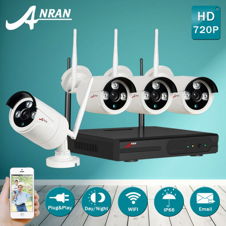 ANRAN!4CH Plug And Play NVR Wireless CCTV Camera System&720P HD Outdoor Weatherproof IR WIFI Security Video Surveillance Camera