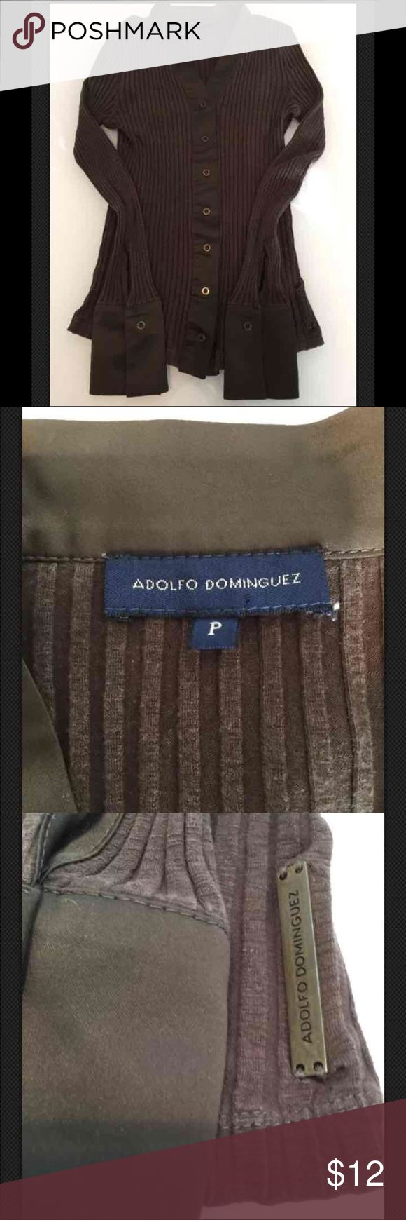 CLEARANCE Adolfo Dominguez Snap Button Top Sz P Adolfo Dominguez Khaki/Brown Ribbed Snap Button Top Sz P Good condition Adolfo Dominguez Tops Button Down Shirts