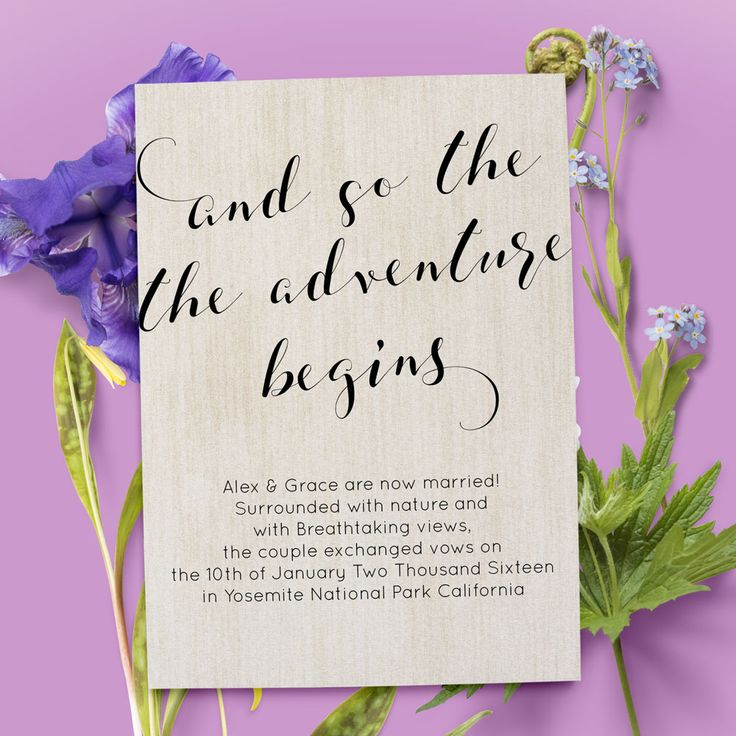 Elopement announcement card with gigantic and so the adventure begins. This is a personalized elopement announcement card that comes in two different color. Use this for rustic and simple weddings