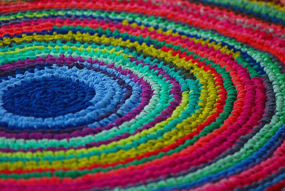 Round large multicolored rug bohemian gypsy crochet rug