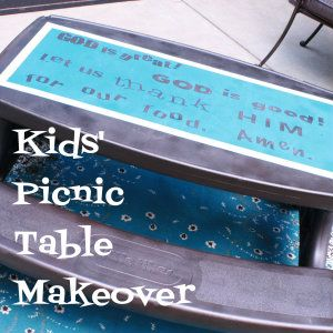 Plastic picnic table makeover tutorial: A Little Tykes kids' plastic picnic table gets a paint makeover.