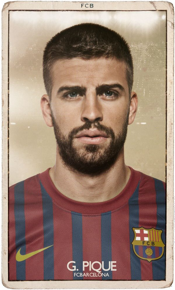PIQUE! FC BARCELONA VINTAGE FOOTBALL CARDS by DIVER AND AGUILAR , via Behance