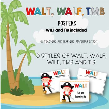 Use these WALT, WALF, TMB posters for lesson learning intentions/goals (WALT), success criteria (WALF/WILF) and purpose (TMB/TIB). This set includes 3 different styles of WALT, WALF, TMB, WILF and TIB posters. 1st style is a title only, great for classroom display of goals2nd and 3rd style gives you the space to write down the goals, success criteria and purpose.WALT: we are learning toWALF: we are looking for WILF: what I'm looking for TMB: this matters becauseTIB: this is becauseWILF and…