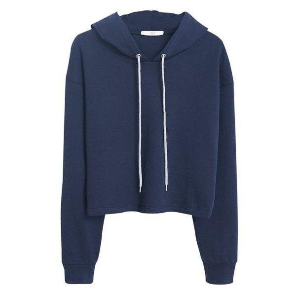 Mango Cropped Cotton Hoodie, Navy ❤ liked on Polyvore featuring tops, hoodies, cropped hoodies, blue hooded sweatshirt, navy hoodie, hooded sweatshirt and sweatshirt hoodies