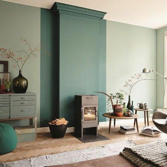 jolie idee deco salon, sol en parquet clair, cheminee d ...