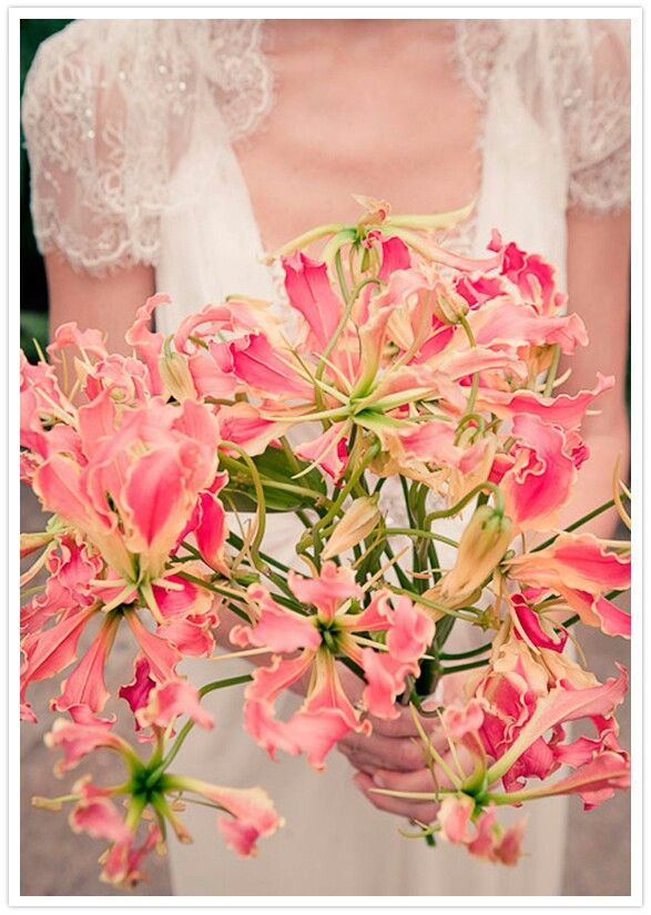 Beautiful Hand Tied Bridal Bouquet Of Hot Pink Gloriosa Lilies^^^^