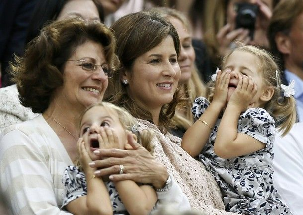 Mirka Federer watches husband Roger Federer with her twin daughters Myla Rose & Charlene Riva and their grandma, Roger's mom Lynette Federer. (Wimbledon 2012 final)