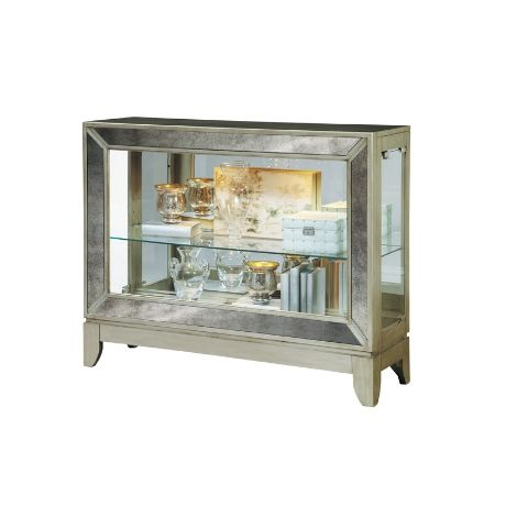 Curios, Console Curio Cabinet In Platinum   CLOSEOUT, Dining Room Table  Sets, Bedroom Furniture, Curio Cabinets And Solid Wood Furniture   Model  21471 ...