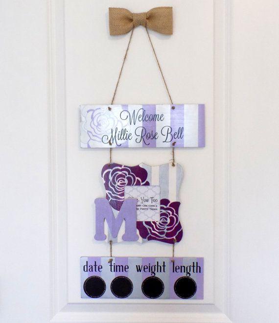 Hospital Door Hanger Welcome Baby Girl Purple & by OliveYewToo