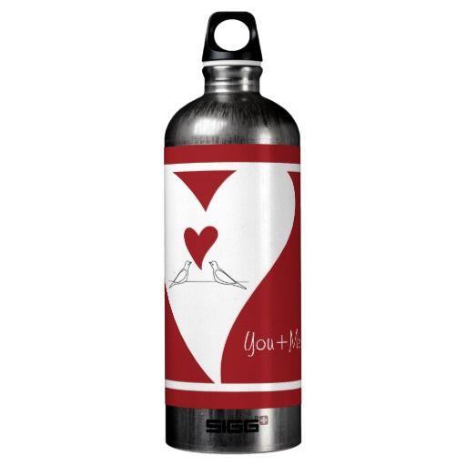 Cute White Birds in Love SIGG Water Bottle - Red x Black