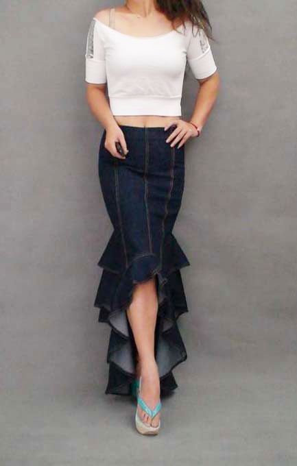 Aliexpress.com : Buy Plus Size XL Fashion Denim Fish Tail Skirt Layers Of Ruffles Patchwork Cowboys Mermaid Skirt Long Denim Jeans Skirts For Women from Reliable skirts for suppliers on D&F International Fashion-base. | Alibaba Group