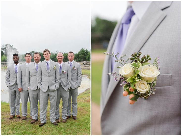 Groomsmen in Gray Suits with purple ties and cowboy boots at Twisted Ranch Wedding