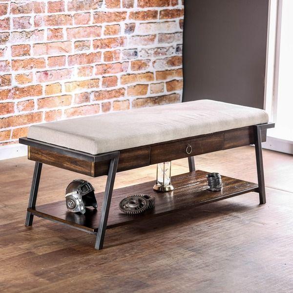Furniture of America Gino Dark Oak Industrial Ivory Flax Bench