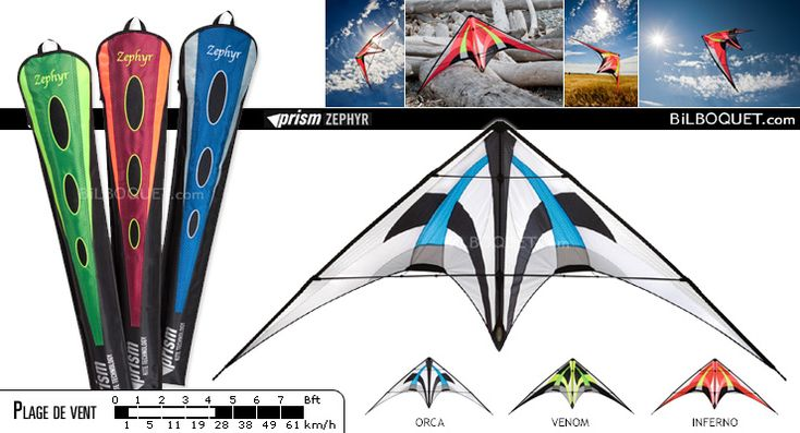 Zephyr cerf-volant pour vents légers Prism Kites - Cerfs-volants pilotables 2 lignes - Cerf-volant acrobatique - Prism Kites - 235€ - Frais de port offerts