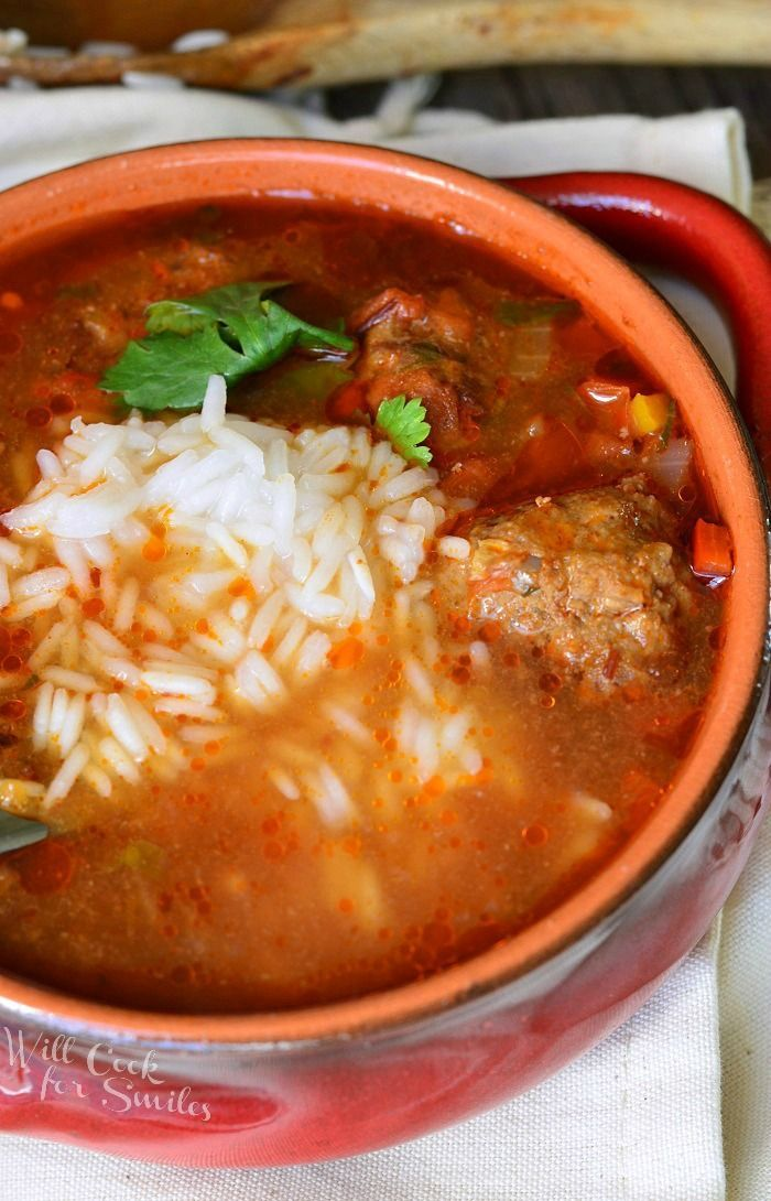 Mexican Meatball Soup | Break out of the spaghetti and meatballs mold with this spicy, Mexican-inspired meatball soup. Chipotle peppers in adobo sauce and cumin seasoning give this dish just the right amount of smoky flavor. Add white rice to the dish for an even heartier meal and enjoy!