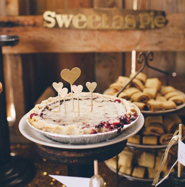 Love the idea of a pie bar at the reception! So many options for cute toppers!
