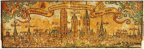 Panoramisch gezicht op Gent. Ingekleurde houtsnede gedrukt door Pieter de Keysere, 1524.  Gent, Universiteitsbibliotheek, Prentenkabinet