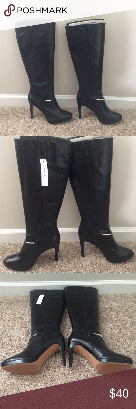 Size 10 Nine West tall wide calf boot w/gold strap Black leather Nine West tall wide calf boots. Gold strap across ankle. Never wore or used. New. Size 10. No box. Platform heel. Nine West Shoes Heeled Boots